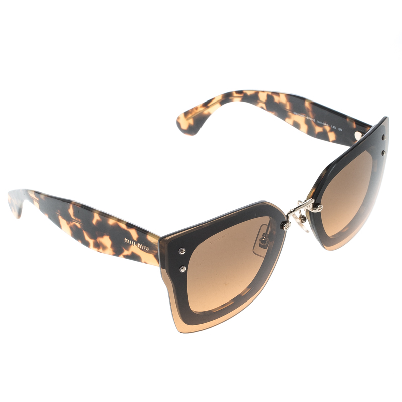 bca5877a9ade Buy Miu Miu Brown Tortoise SMU 04R Butterfly Sunglasses 154093 at ...