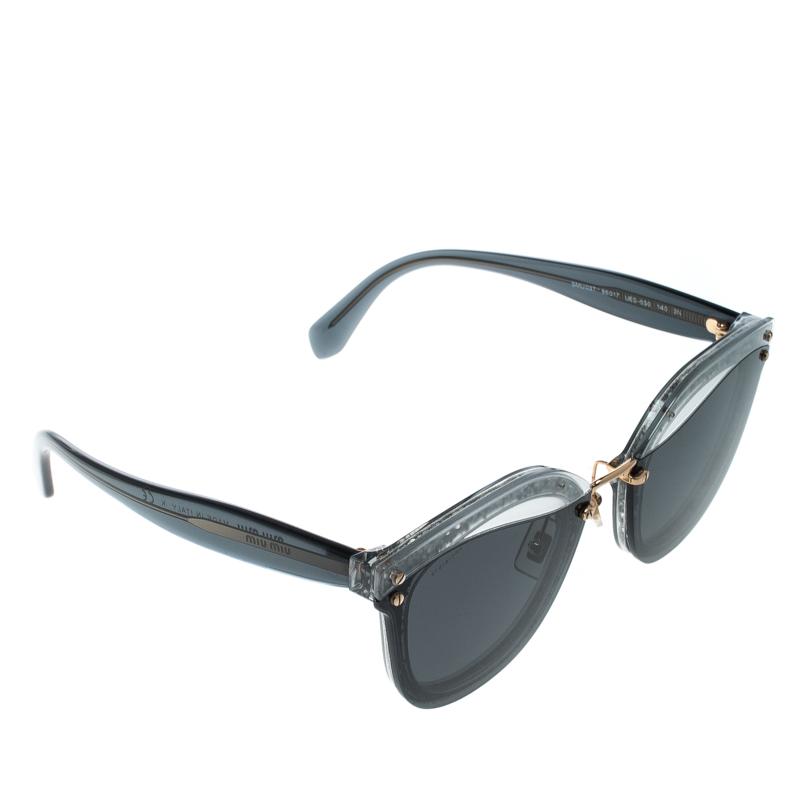 e03f852fe81 Buy Miu Miu Black and Grey Matte Glitter Trim SMU03T Wayfarer ...