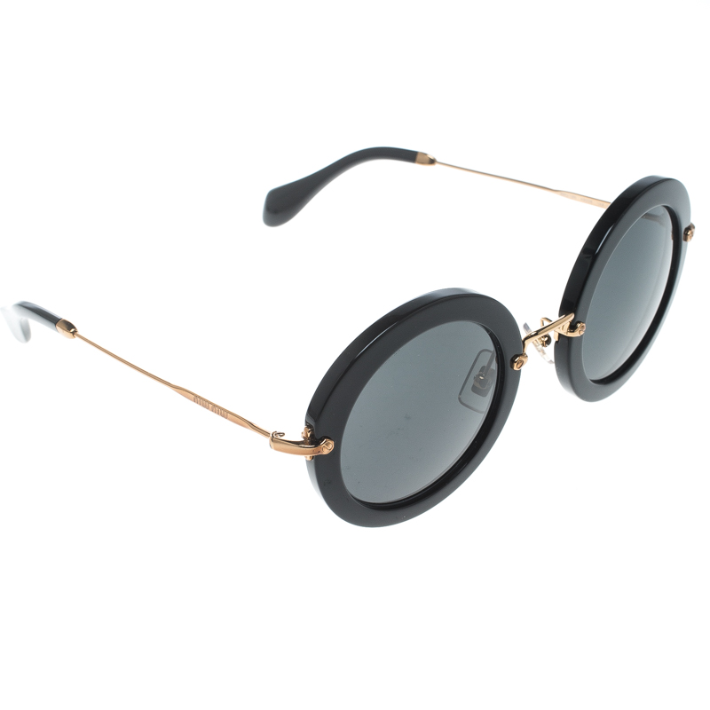 114dbea4770e Buy Miu Miu Black Gold SMU13N Round Sunglasses 161597 at best price ...