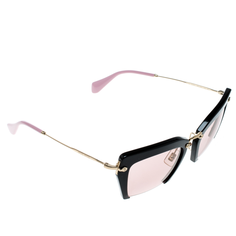 206d3265184 Buy Miu Miu Pink Black SMU10Q Rasoir Half Rim Sunglasses 167525 at ...
