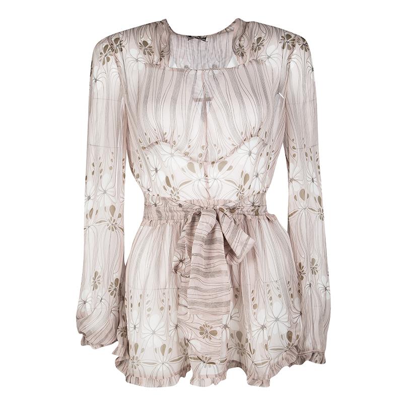 e856bcfc5c43 Buy Miu Miu Pale Pink Floral Print Tie Detail Ruffled Silk Top S ...