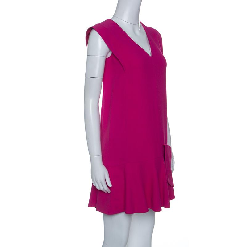 Miu Miu Pink Ruffled Bow Detail Sleeveless Dress S