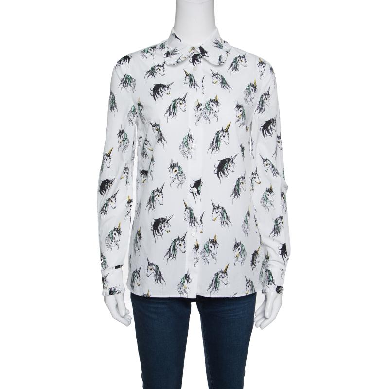 Miu Miu Special Collection Eri Wakiyama White Unicorn Printed Cotton Shirt M