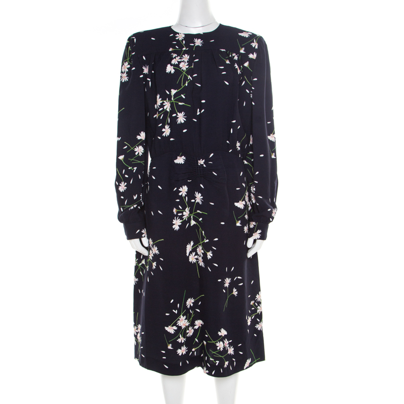 Miu Miu Navy Blue Floral Printed Ruched Waist Detail Long Sleeve Dress M