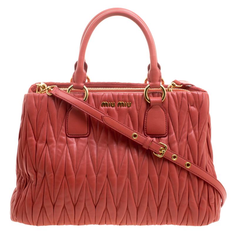 e5d9b5c16e63 Buy Miu Miu Red Matelasse Leather Shopper Tote 112455 at best price ...