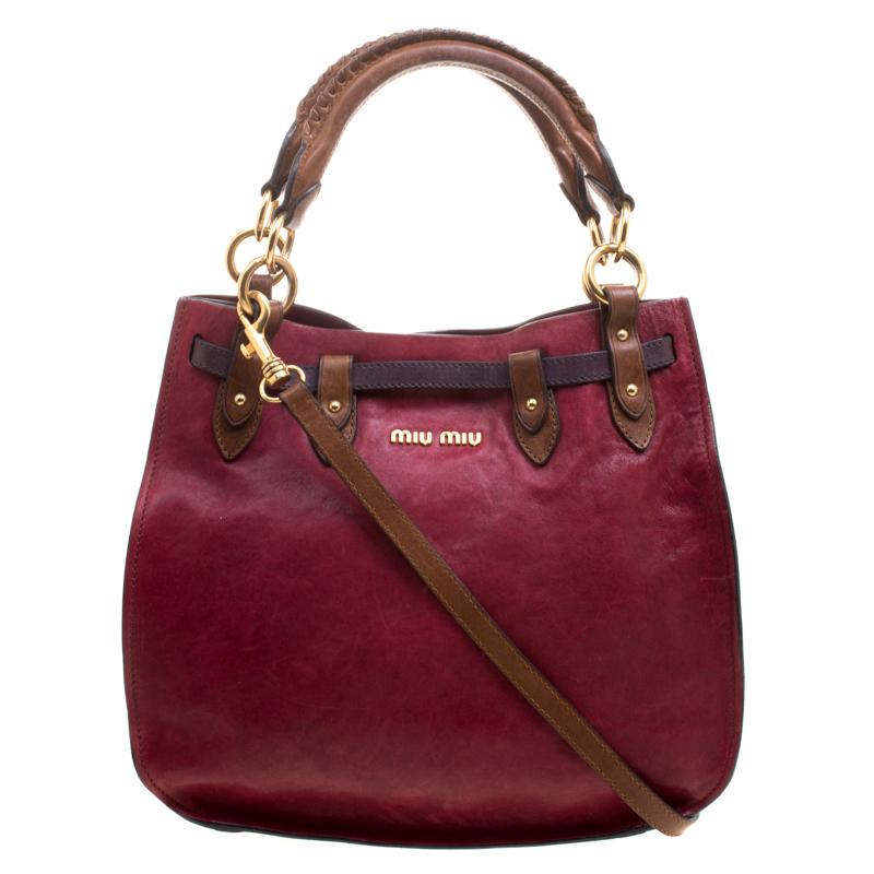 5a25e0710fad Buy Miu Miu Tri Color Leather Top Handle Bag 116097 at best price