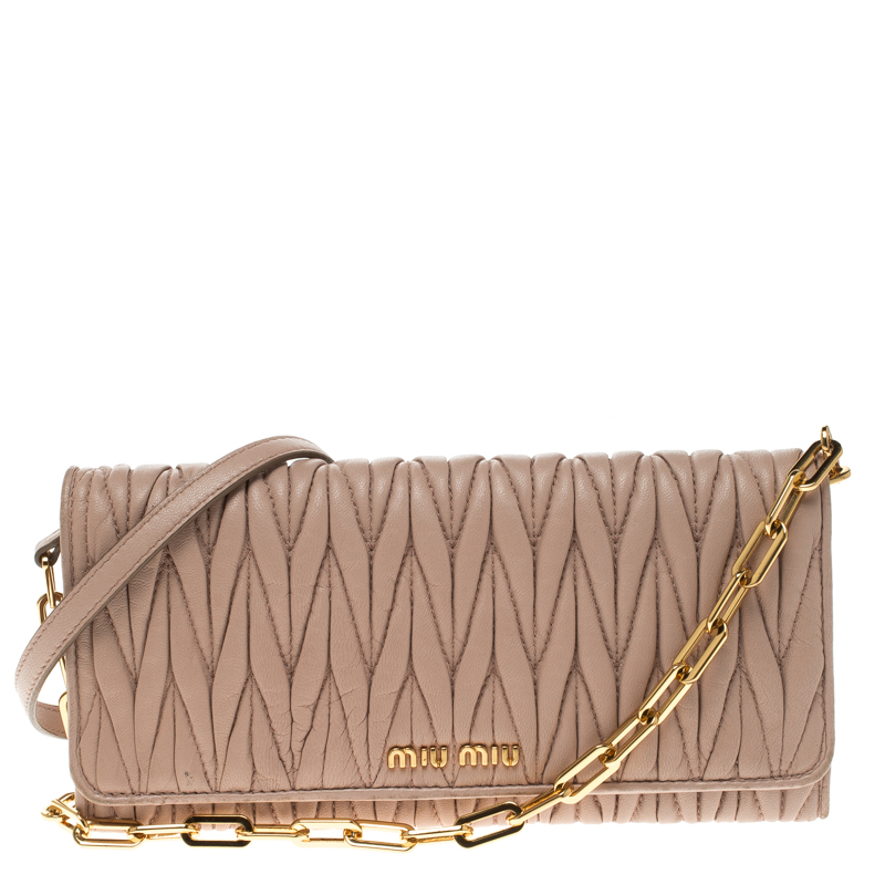 28299950b2c7 Buy Miu Miu Beige Matelasse Leather WOC Wallet 117582 at best price ...