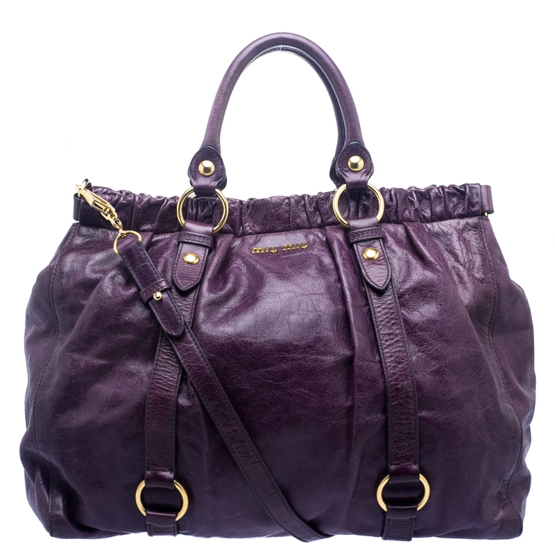 149a3b0cbf39 ... Miu Miu Purple Vitello Lux Leather Gathered Tote. nextprev. prevnext