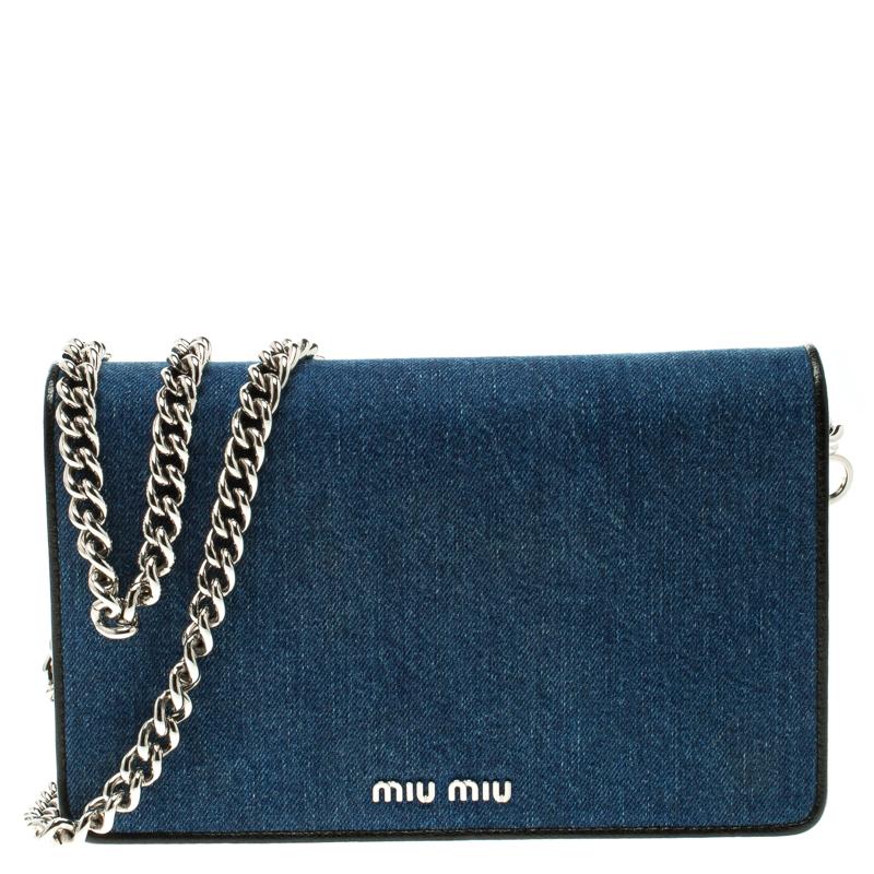 cc581fa9c756 ... Miu Miu Blue Denim with Northern Raccoon Fur Charm Crossbody Bag.  nextprev. prevnext