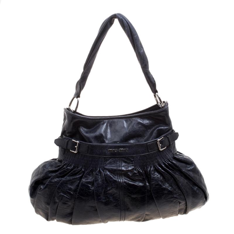 9cf13f754 Buy Miu Miu Dark Blue Distressed Leather Hobo 121231 at best price | TLC