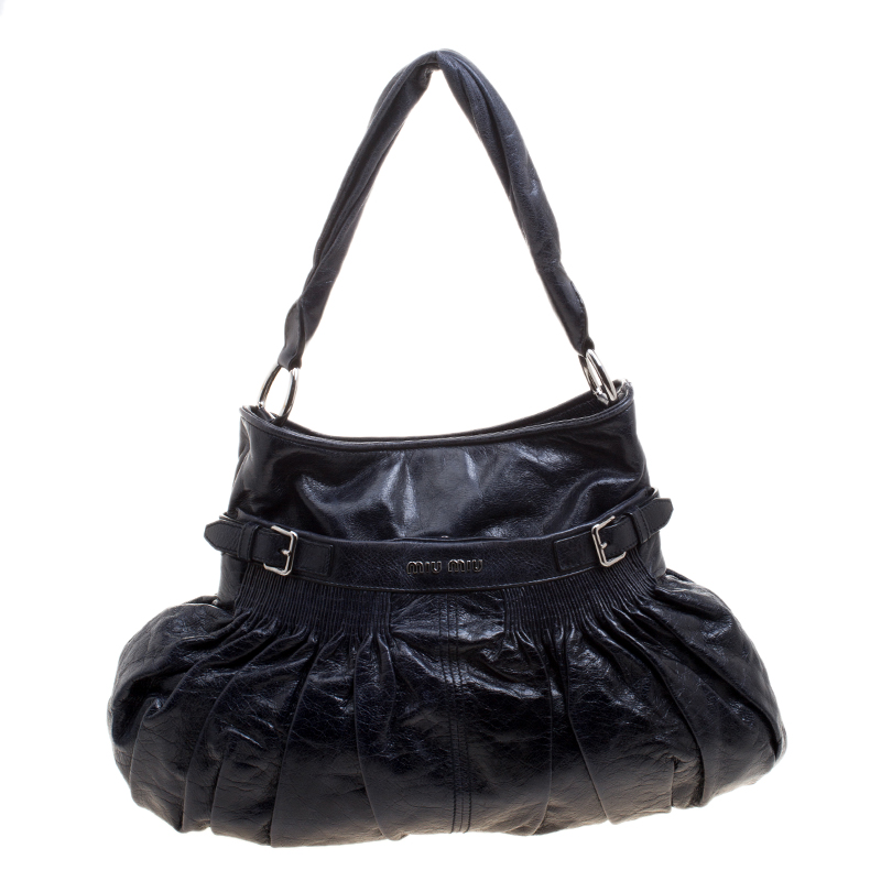 Buy Miu Miu Dark Blue Distressed Leather Hobo 121231 at best price  b77a6f22618c4