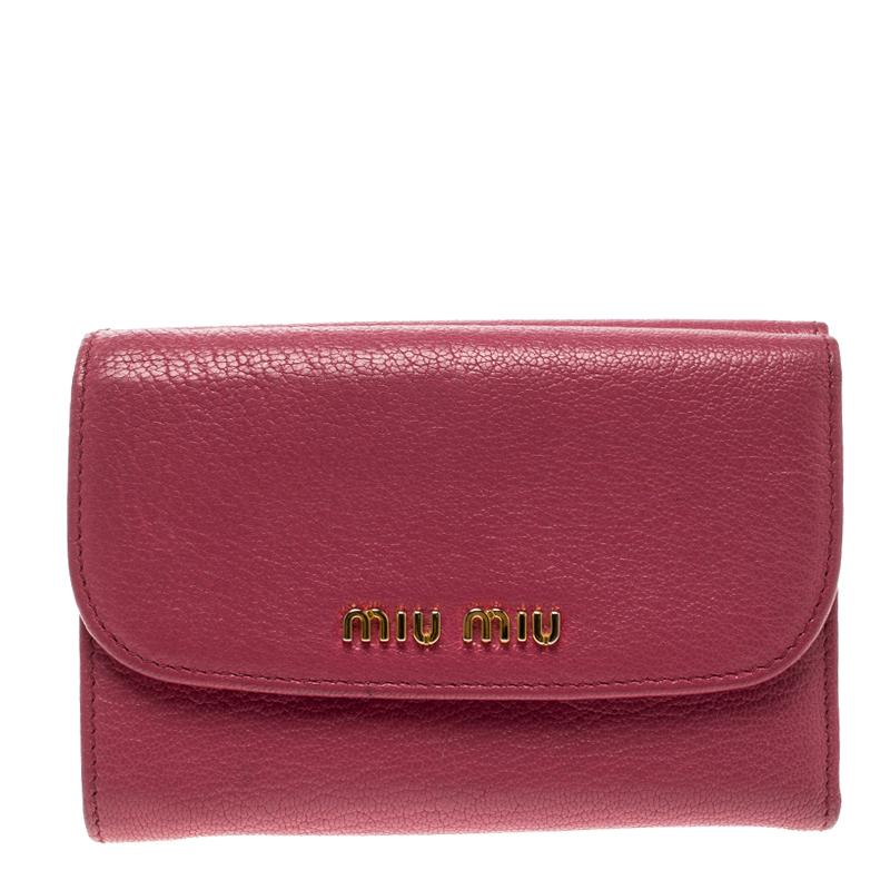 98420d9134ba8d Buy Miu Miu Hot Pink Leather Madras Compact Wallet 130082 at best price    TLC