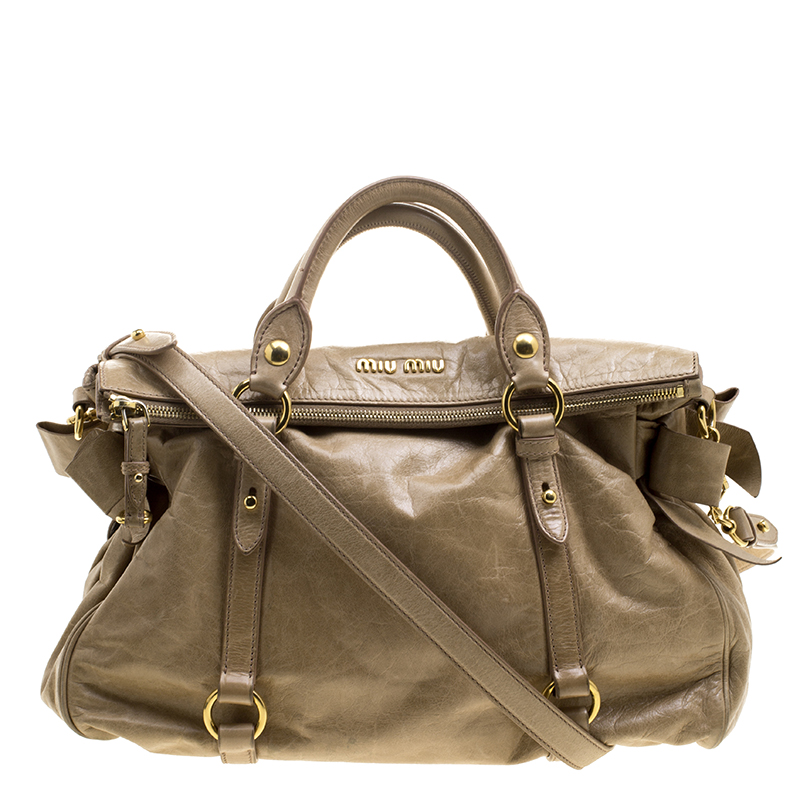 Buy Miu Miu Beige Glazed Leather Bow Tote 130932 at best price