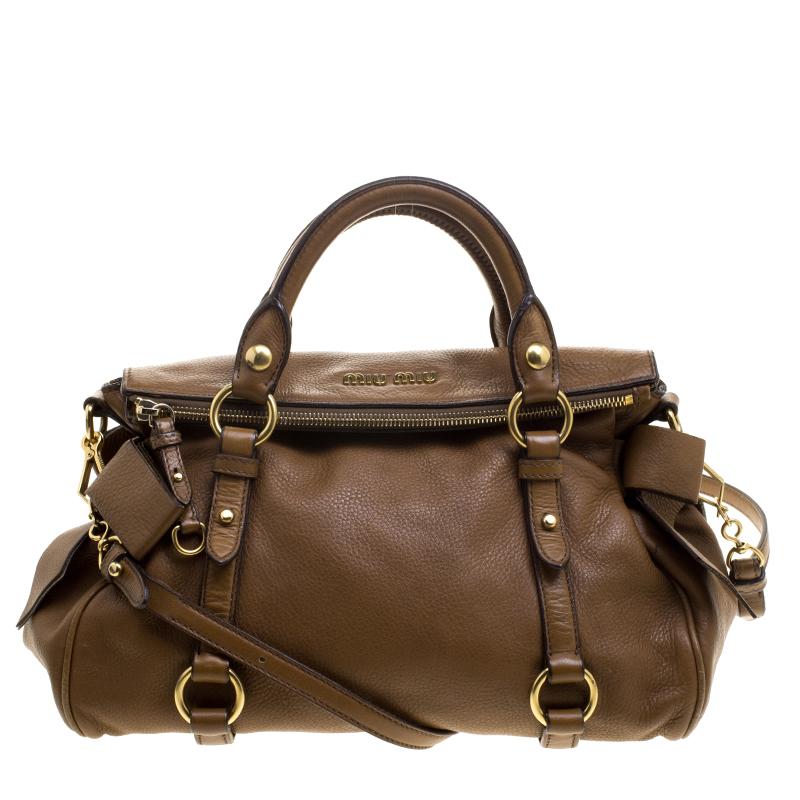 381eecc31374 Buy Miu Miu Brown Leather Bow Top Handle Bag 131102 at best price