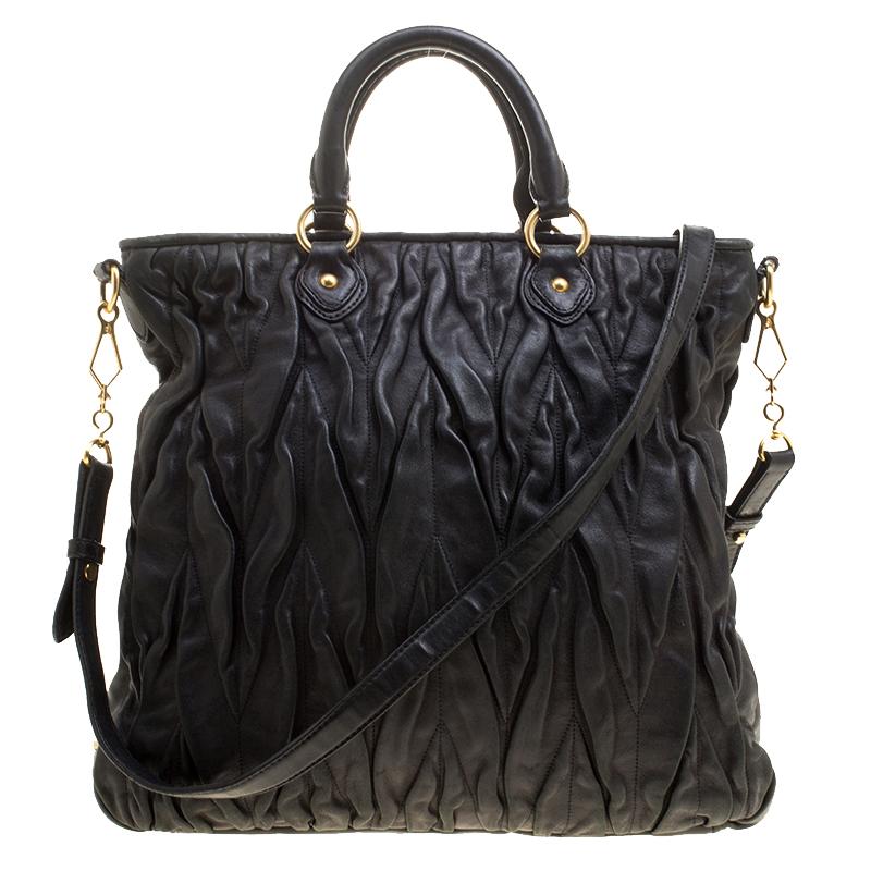 e96bda9b61d1 Buy Miu Miu Black Leather Matelasse Tote 133508 at best price