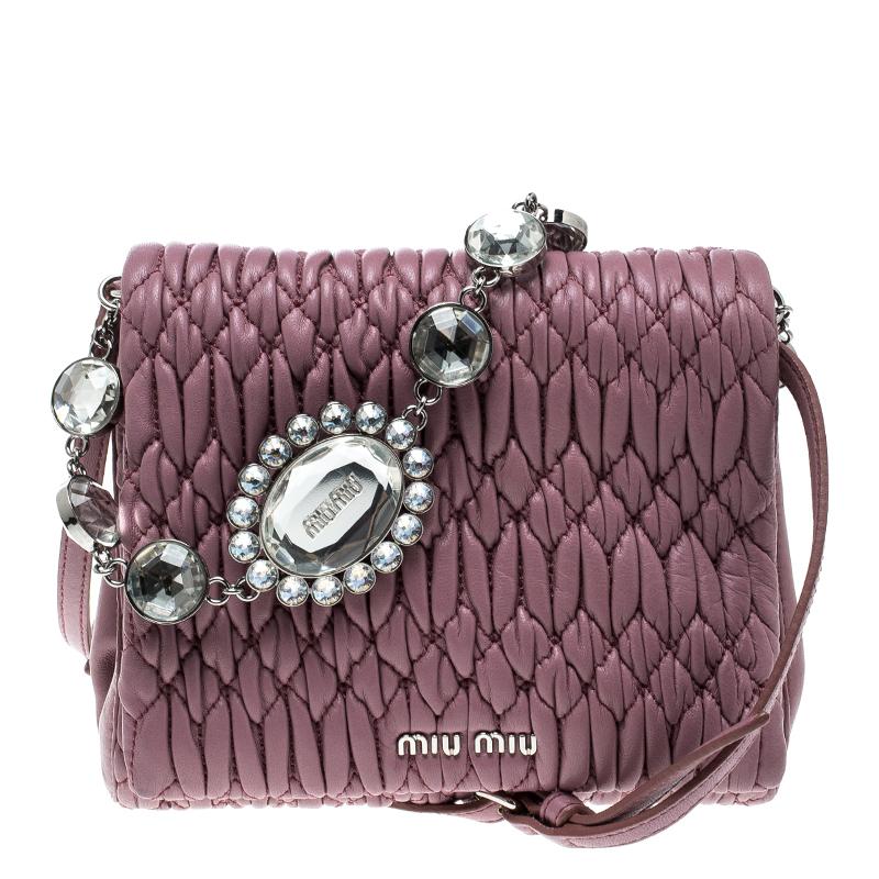 ea0afb45dc46 ... Miu Miu Bubble Gum Matelasse Leather Crystal Crossbody Bag. nextprev.  prevnext