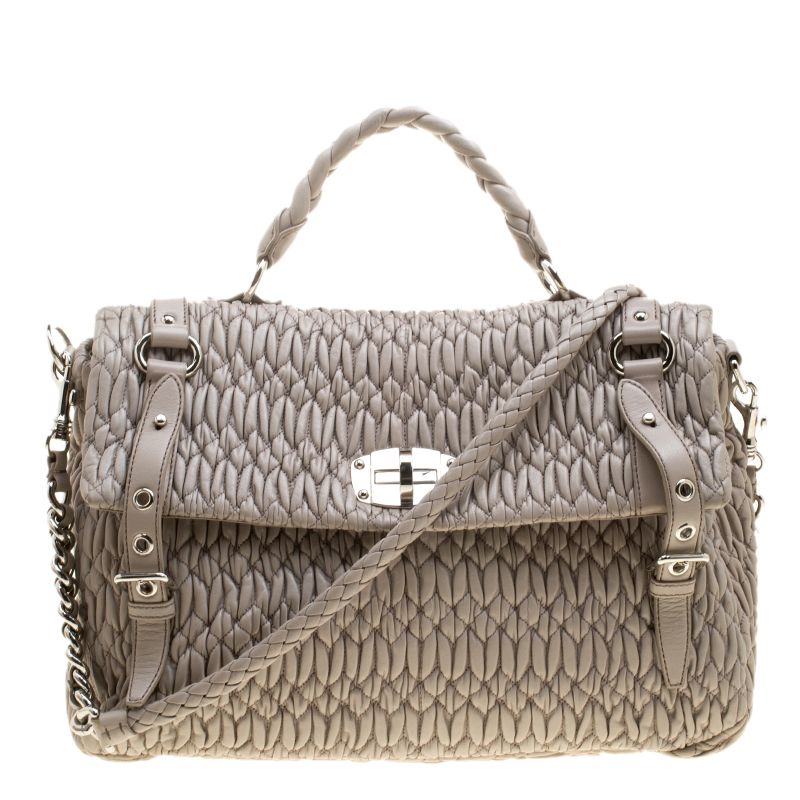 3e3d71f6f503 ... Miu Miu Grey Matelasse Nappa Leather Large Top Handle Bag. nextprev.  prevnext