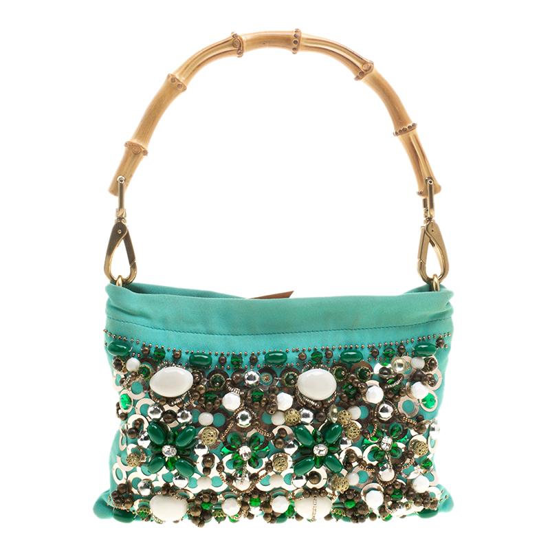 ... Miu Miu Green Sequin and Beads Bamboo Handle Bag. nextprev. prevnext fa2d43641664e