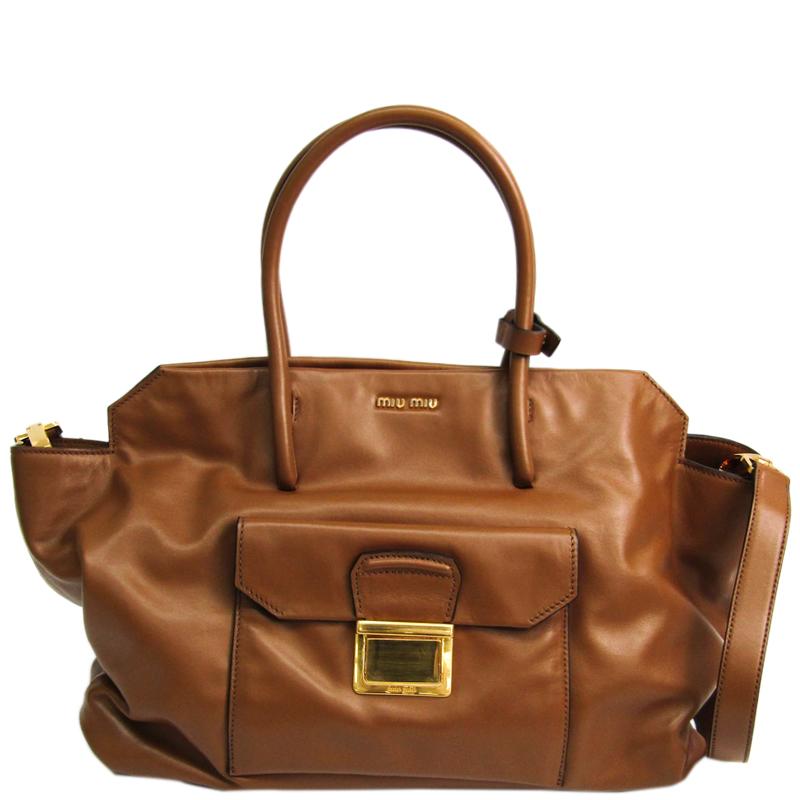 1d8199171 ... Miu Miu Brown Vitello Soft Calf Leather Satchel Bag. nextprev. prevnext