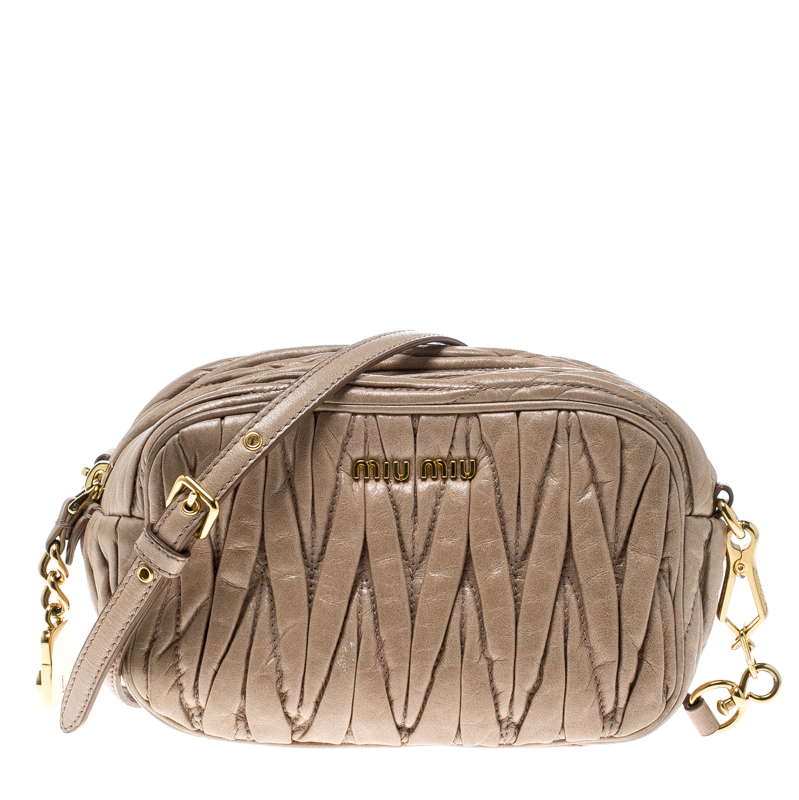 aafb5af62091 Buy Miu Miu Beige Matelasse Nappa Leather Mini Zipper Shoulder Bag ...