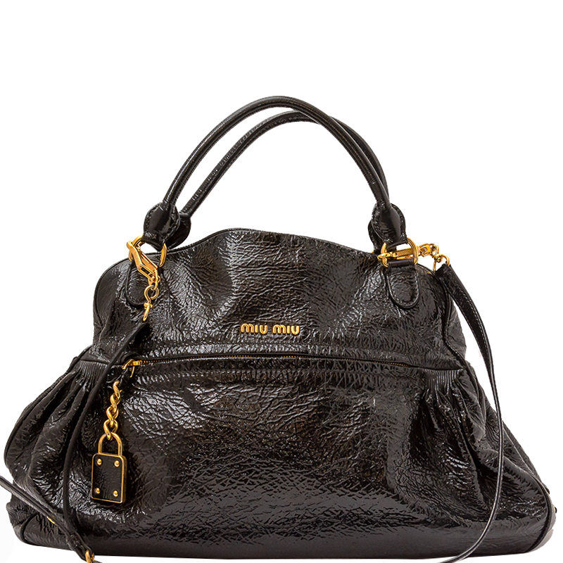 Buy Miu Miu Black Patent Leather Charm Satchel Bag 151866 at best ... 47da75dda08c3