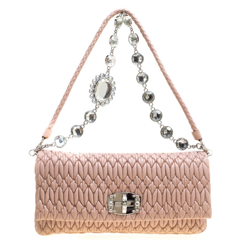 86cff4daa7 ... Beige Matelassé Leather Crystal Flap Shoulder Bag. nextprev. prevnext