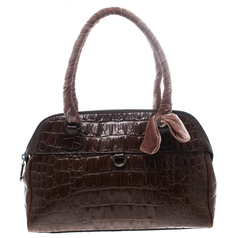 617444cd47e ... Miu Miu Brown Croc Embossed Leather Bauletto Satchel. nextprev. prevnext
