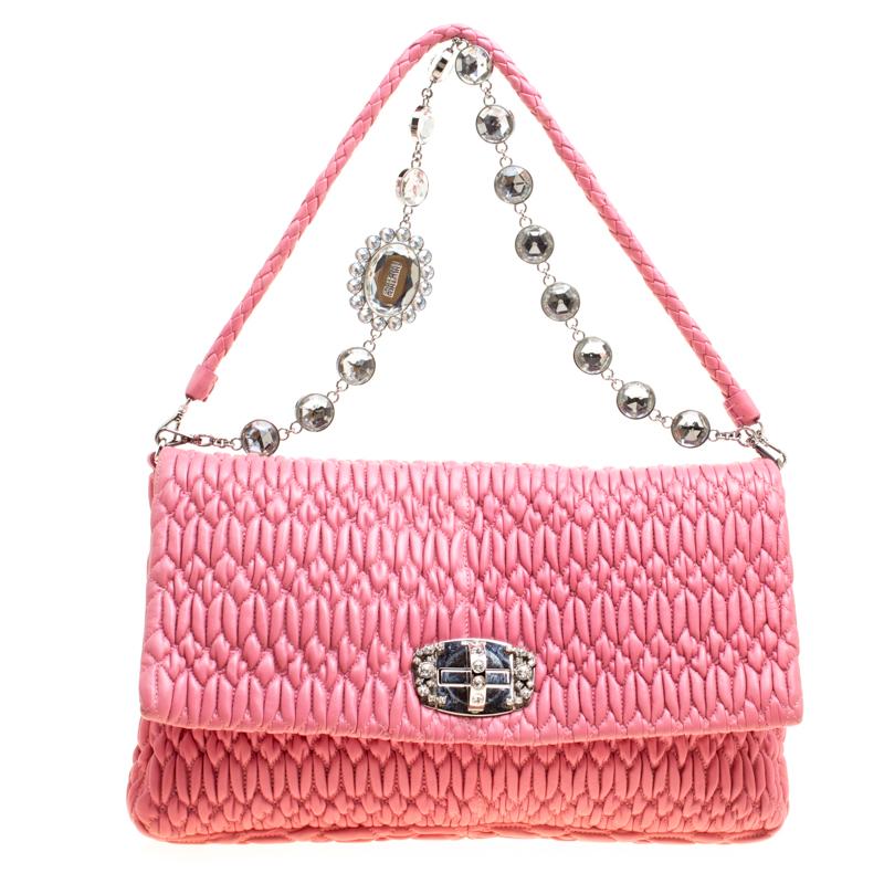 e5736b43be429 ... Miu Miu Pink Matelasse Nappa Leather Crystal Shoulder Bag. nextprev.  prevnext