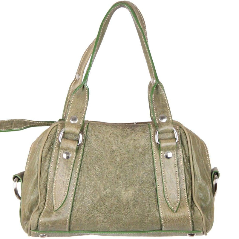 Buy Miu Miu Green Distressed Leather Satchel Bag 156964 at best ... ac79c4babc6da