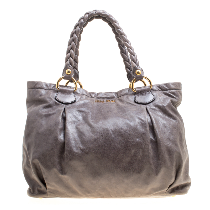 128f2851f58f Buy Miu Miu Grey Leather Braided Handle Tote 158444 at best price