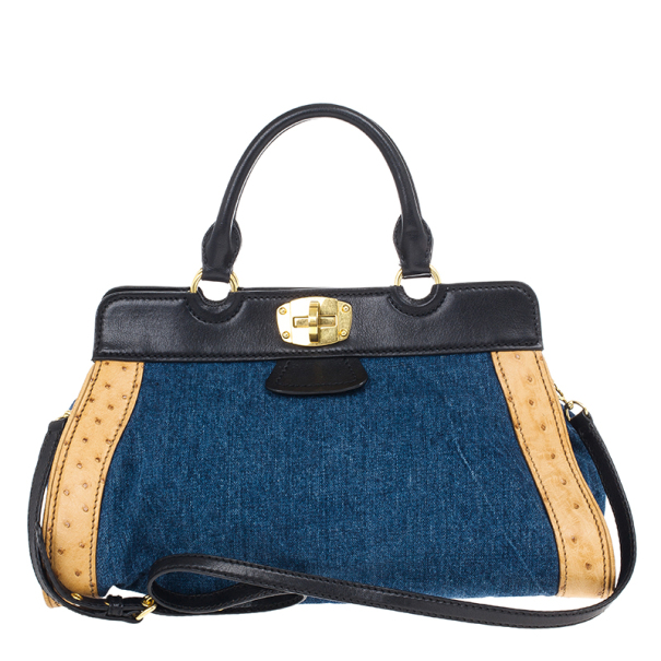 d8f33b97e0df Buy Miu Miu Denim and Leather Satchel 15886 at best price