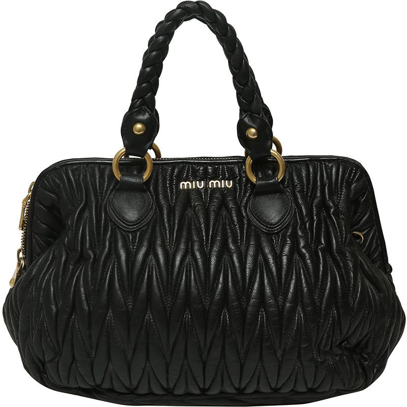 Buy Miu Miu Black Matelasse Leather Satchel Bag 159216 at best price ... ae14e5e90ba32
