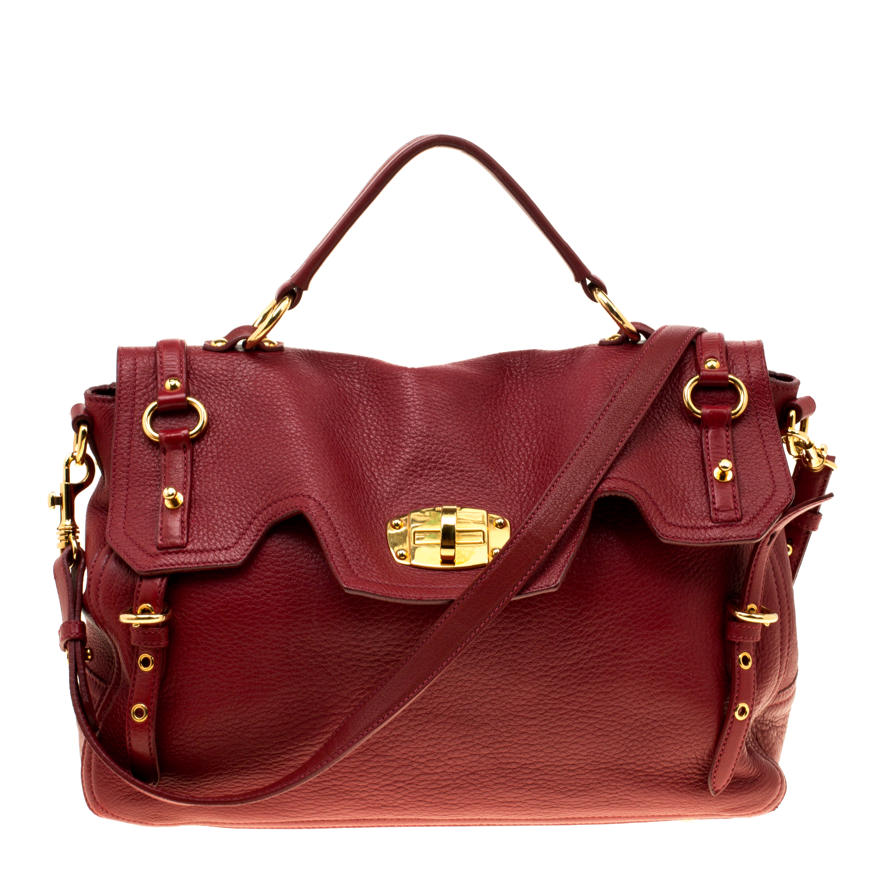 8913be8aaf60 Buy Miu Miu Red Leather East West Top Handle Shoulder Bag 162185 at ...