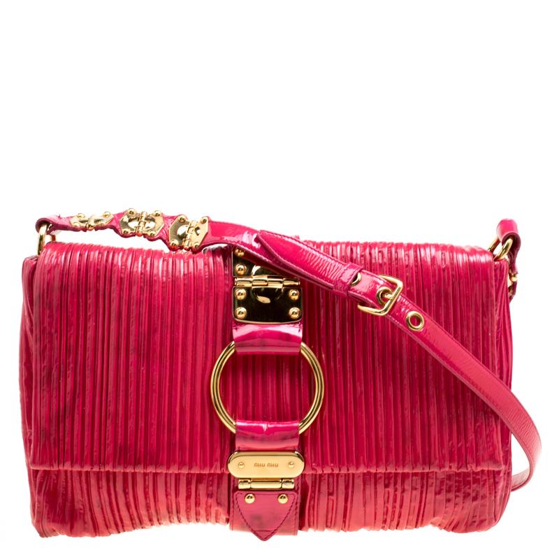 e94e46b58e1e1 ... Miu Miu Fuchsia Pleated Patent Leather Shoulder Bag. nextprev. prevnext
