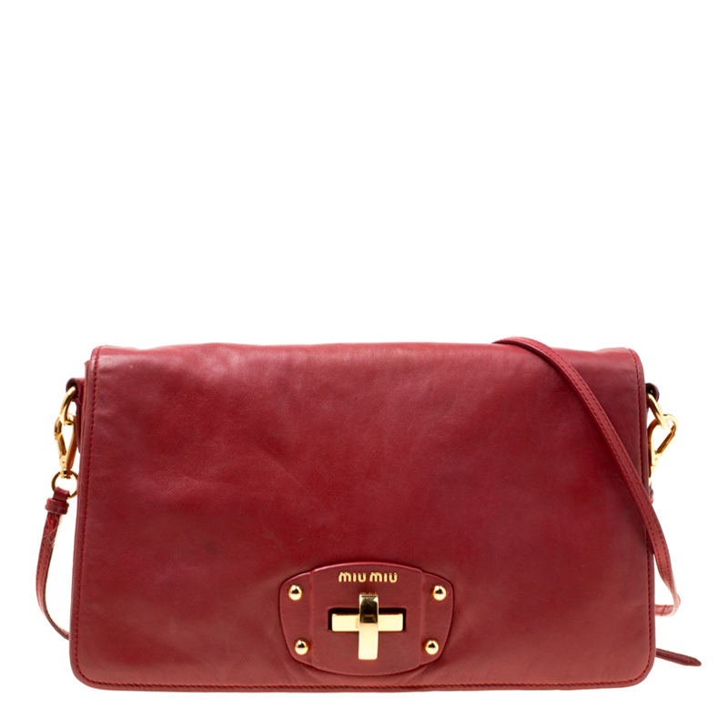 9f8b753e097e Buy Miu Miu Red Leather Turnlock Crossbody Bag 174958 at best price ...
