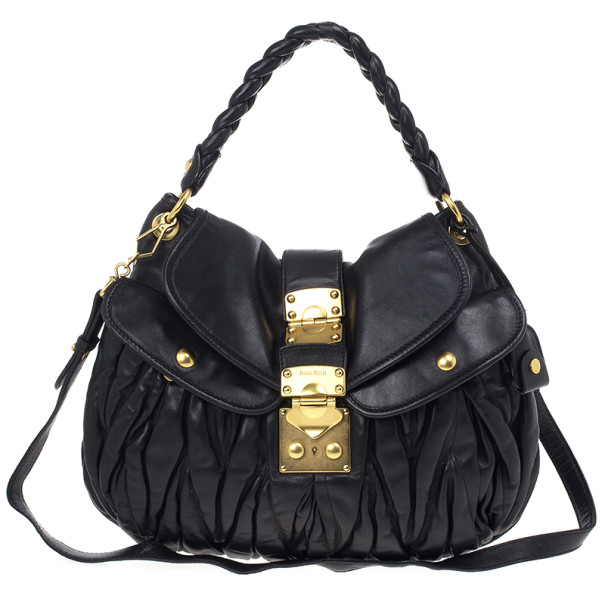 dbbb799fc8c3 Buy Miu Miu Black Coffer Matelasse Leather Hobo 19574 at best price ...