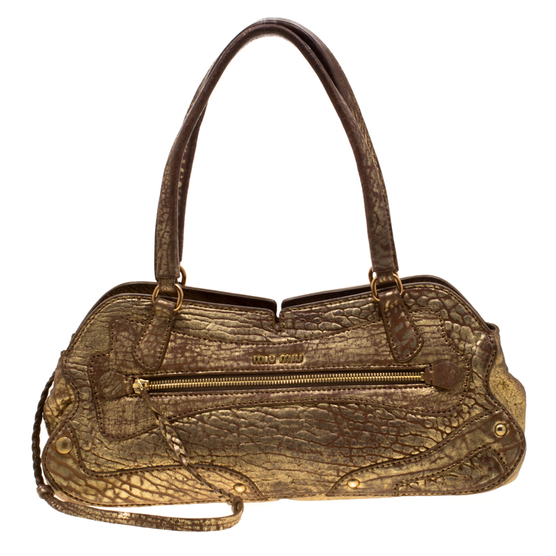 d452348b8 ... Miu Miu Gold Metallic Distressed Leather Shoulder Bag. nextprev.  prevnext