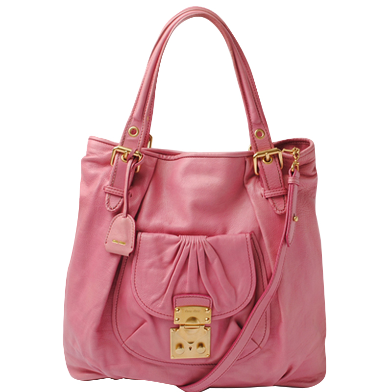 Miu Pink Leather Shoulder Bag