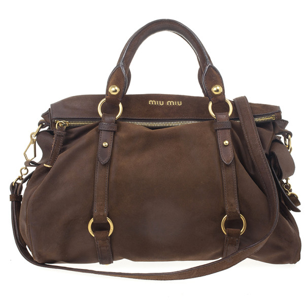 Buy Miu Miu Dark Brown Suede Bow Tote 24222 at best price  be889f9346da7