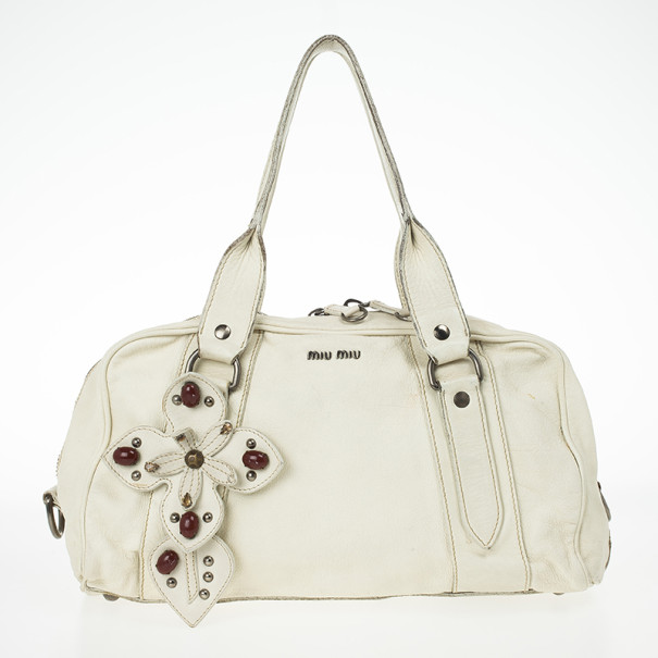 ece97fa40e87c4 Buy Miu Miu Vintage White Jeweled Satchel Bag 24639 at best price | TLC