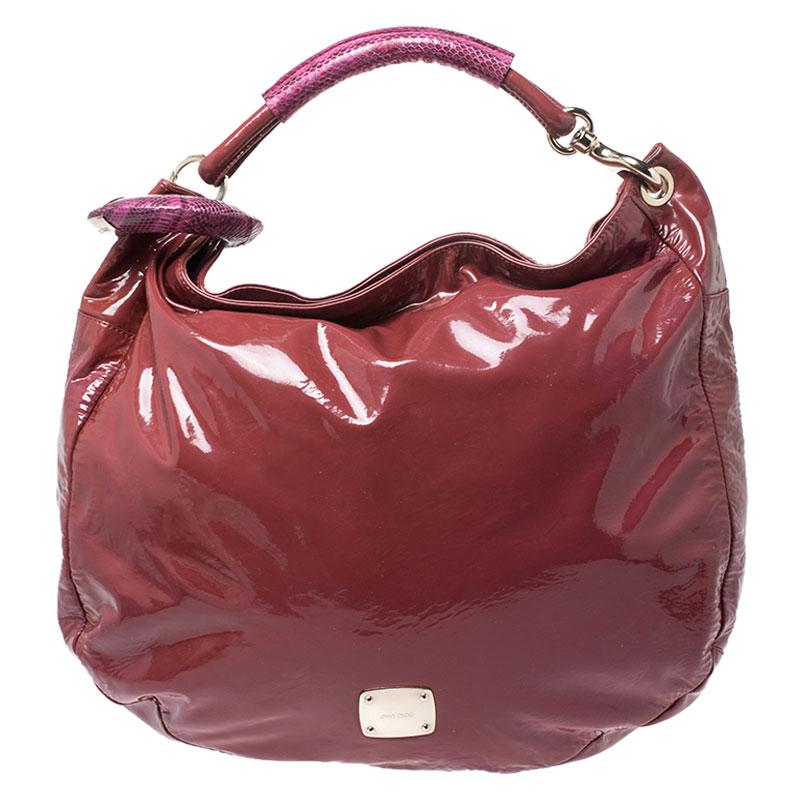 Jimmy Choo Light Burgundy/Purple Patent Leather and Python Trim Handle Sky Hobo