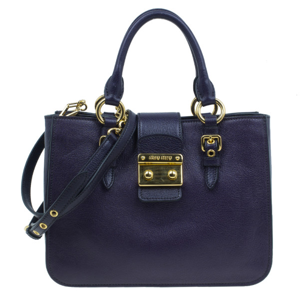 Buy Miu Miu Purple Leather Madras Bag 2901 at best price  758249d18cdb8