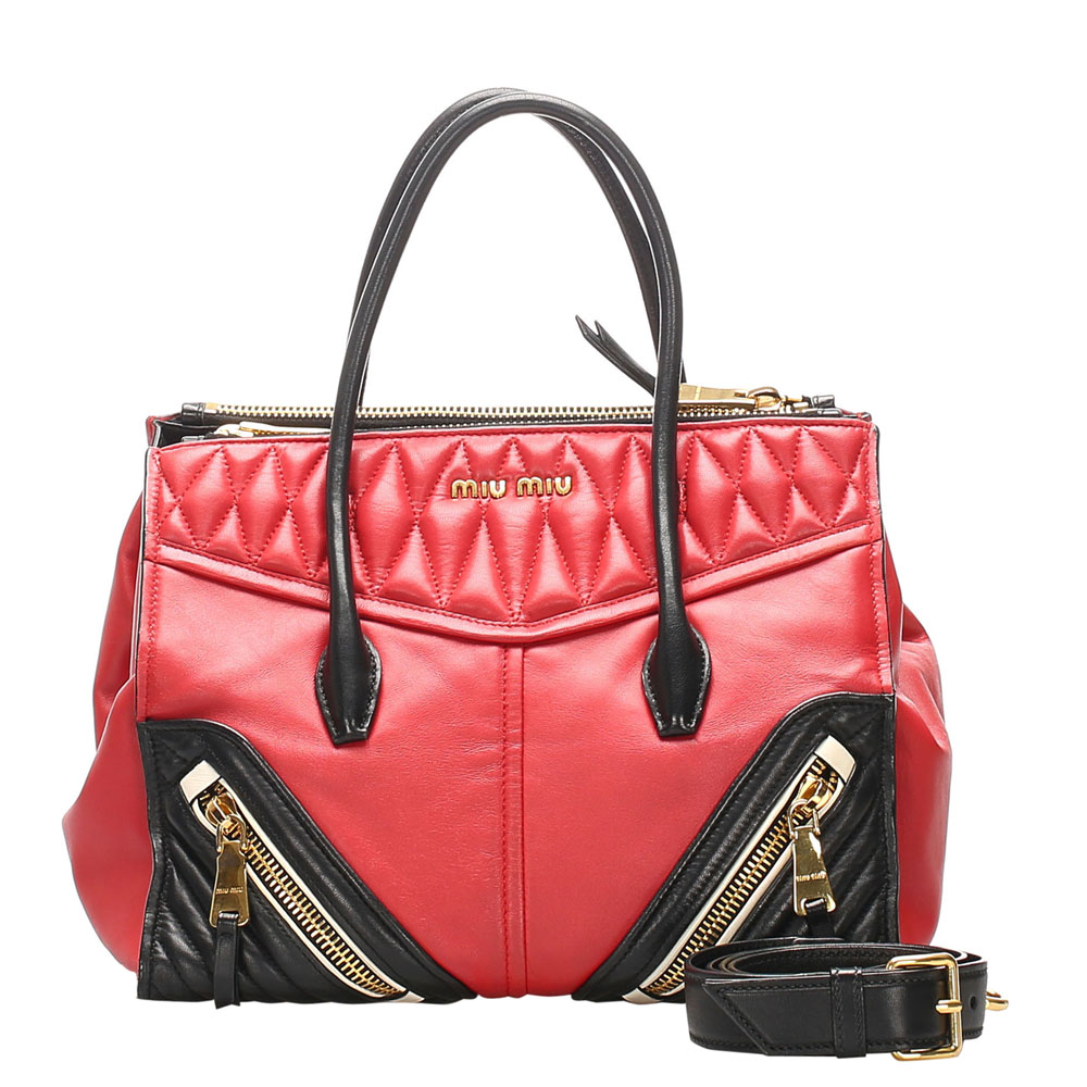 Pre-owned Miu Miu Red Leather Nappa Biker Satchels