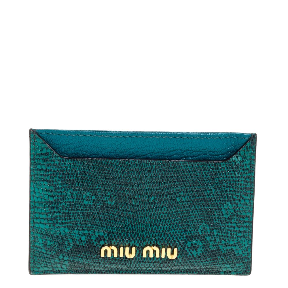 Pre-owned Miu Miu Green Lizard Card Holder