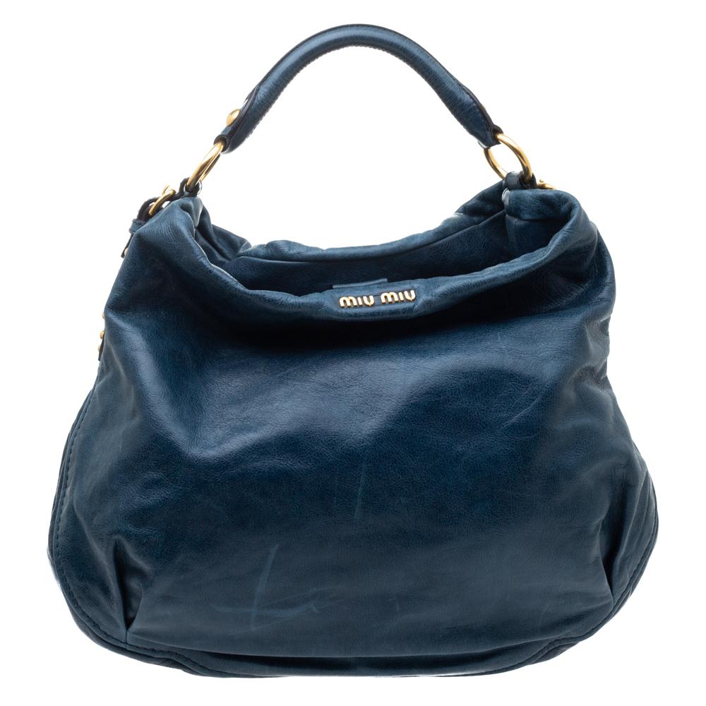 Pre-owned Miu Miu Teal Leather Hobo In Blue
