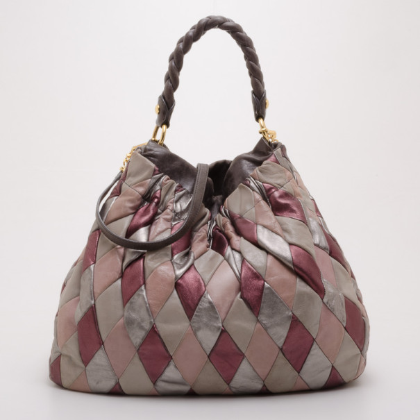 ae3b9d54ef4 Buy Miu Miu Quilted Leather Harlequin Hobo 37654 at best price