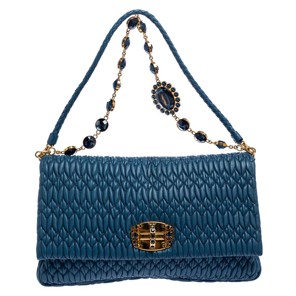 Pre-owned Miu Miu Blue Matelassé Leather Crystal Flap Shoulder Bag