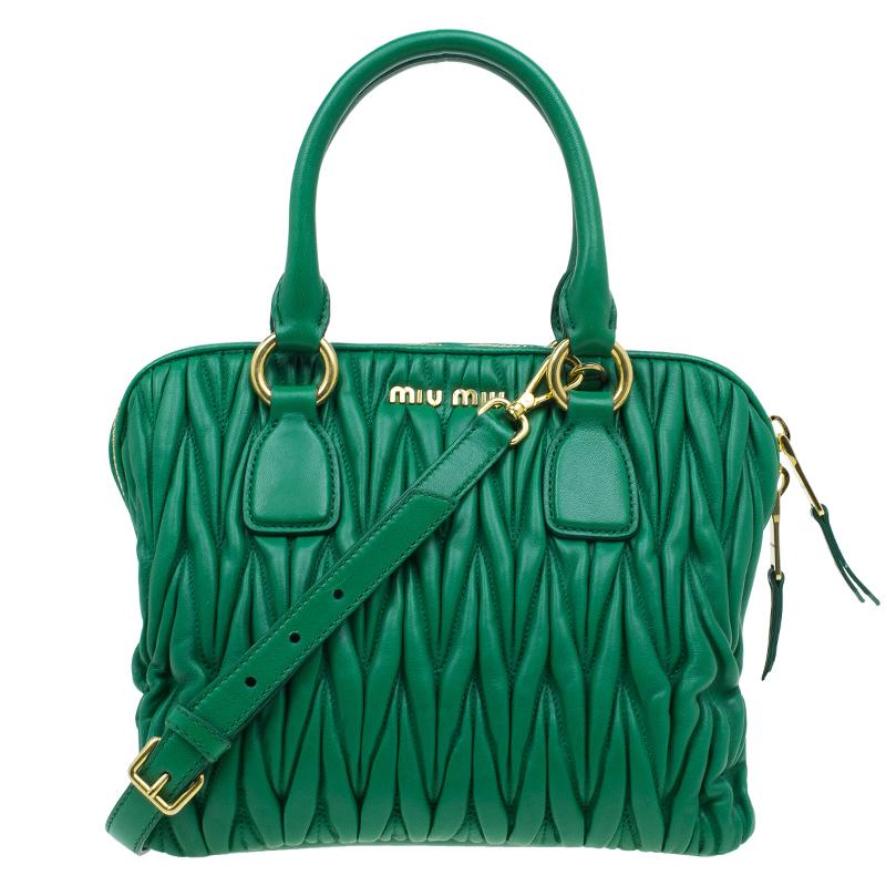 Buy Miu Miu Green Matelasse Leather Small Bauletto Top Handle Bag 42837 at  best price  ec9cdc1f4e77c