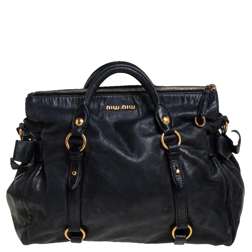 Pre-owned Miu Miu Black Vitello Lux Leather Large Bow Satchel