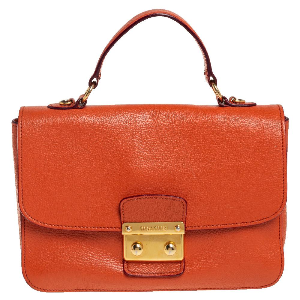 Pre-owned Miu Miu Orange Madras Leather Push Lock Flap Top Handle Bag